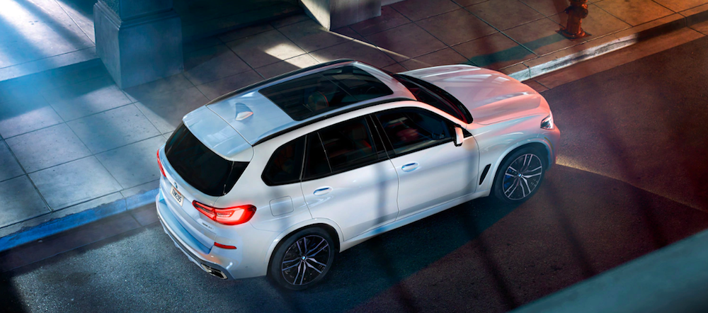 An overhead exterior shot of a 2020 BMW X5