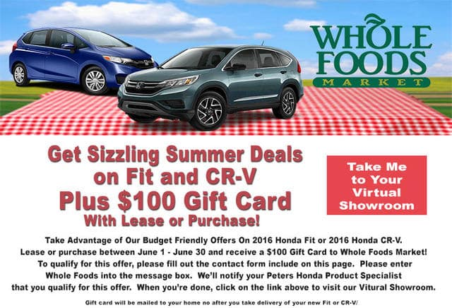 Whole foods gift card peters honda of nashua for Peters honda of nashua