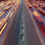 Night time traffic on highway in Kiev city
