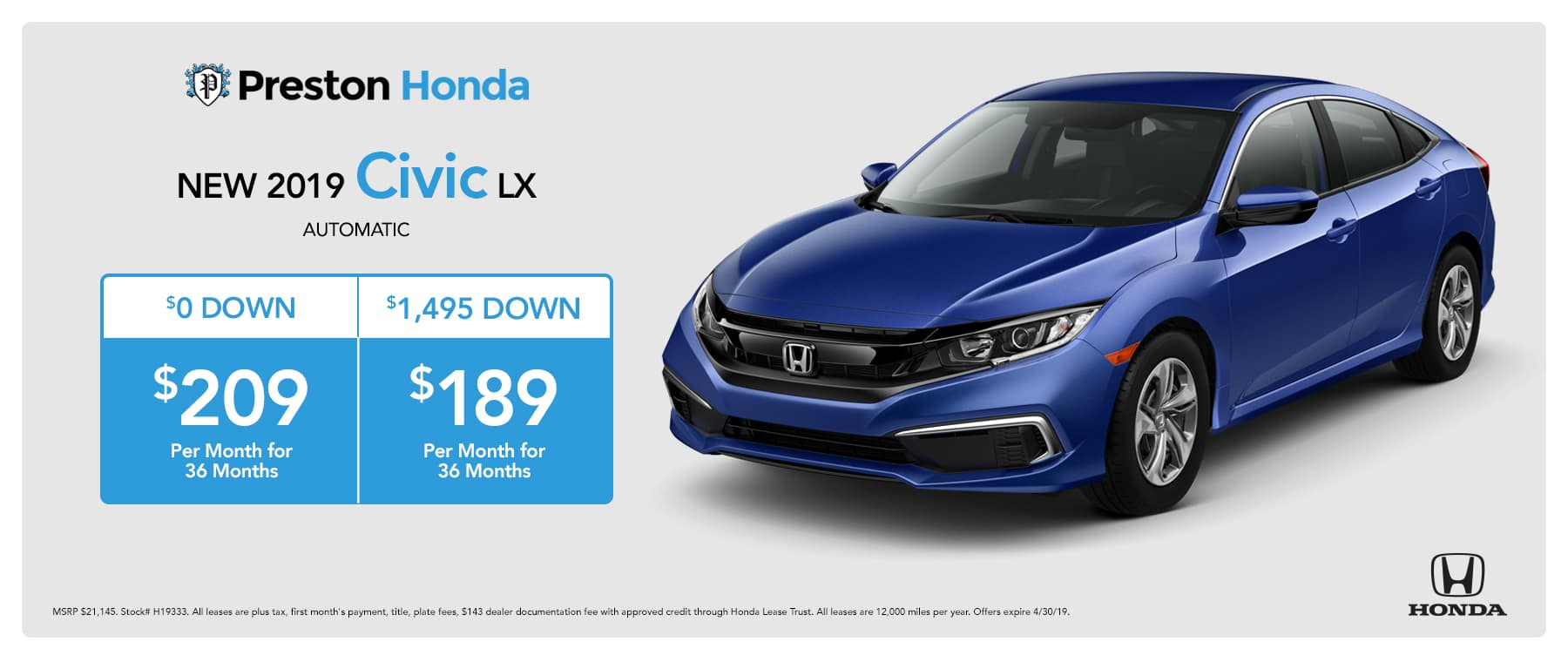 April Special on the 2019 Honda Civic