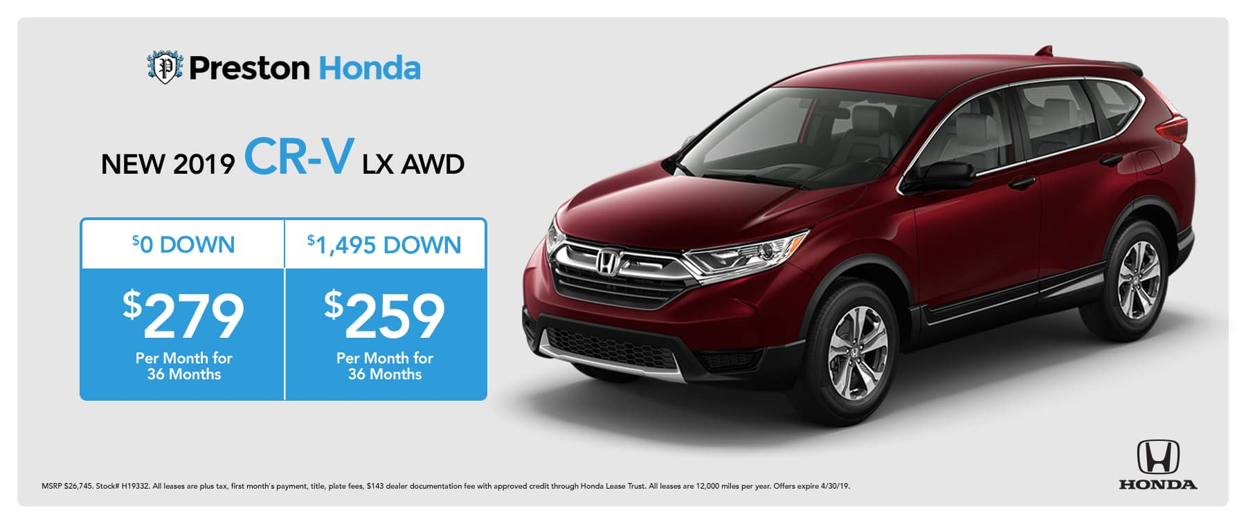 April Special on the 2019 Honda CR-V