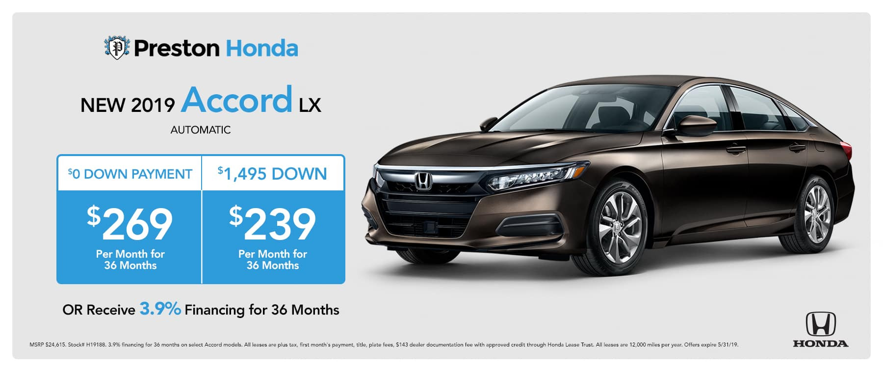 May special on the 2019 Honda Accord