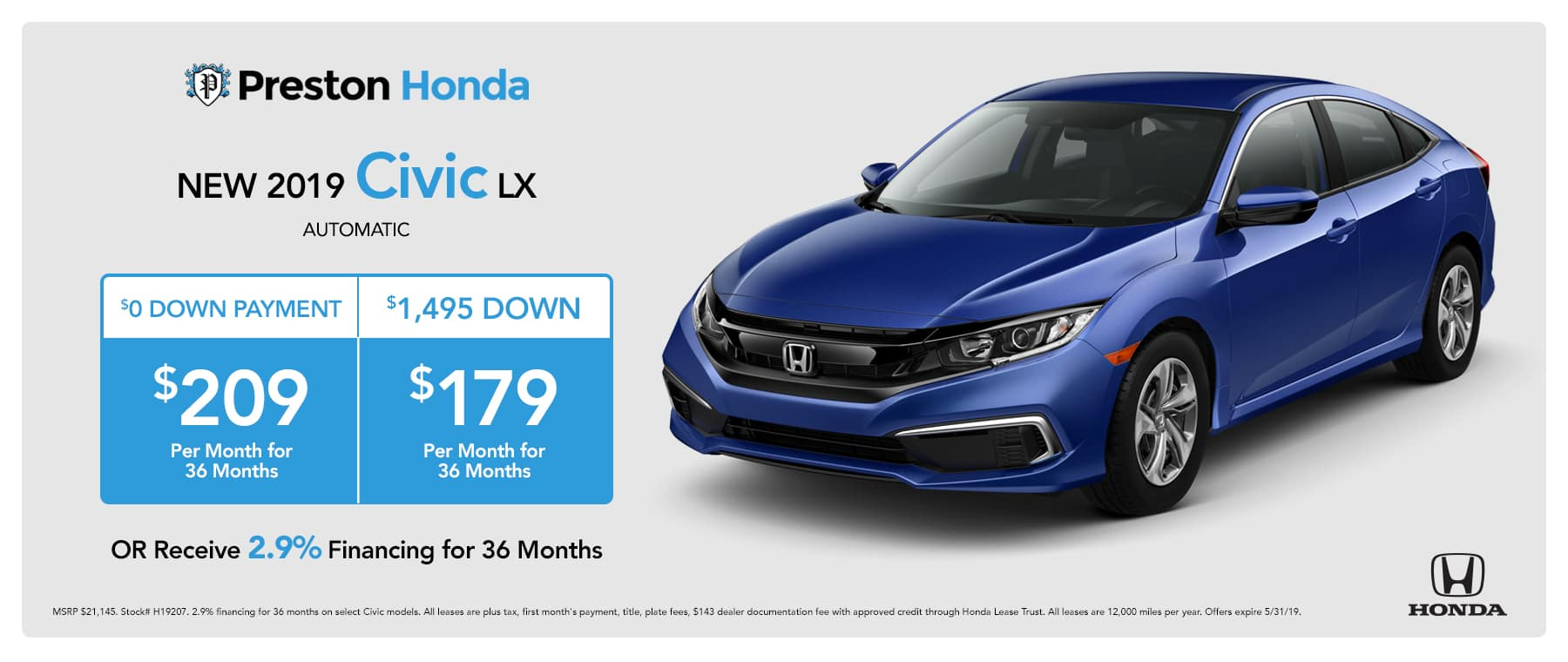May special on the 2019 Honda Civic LX