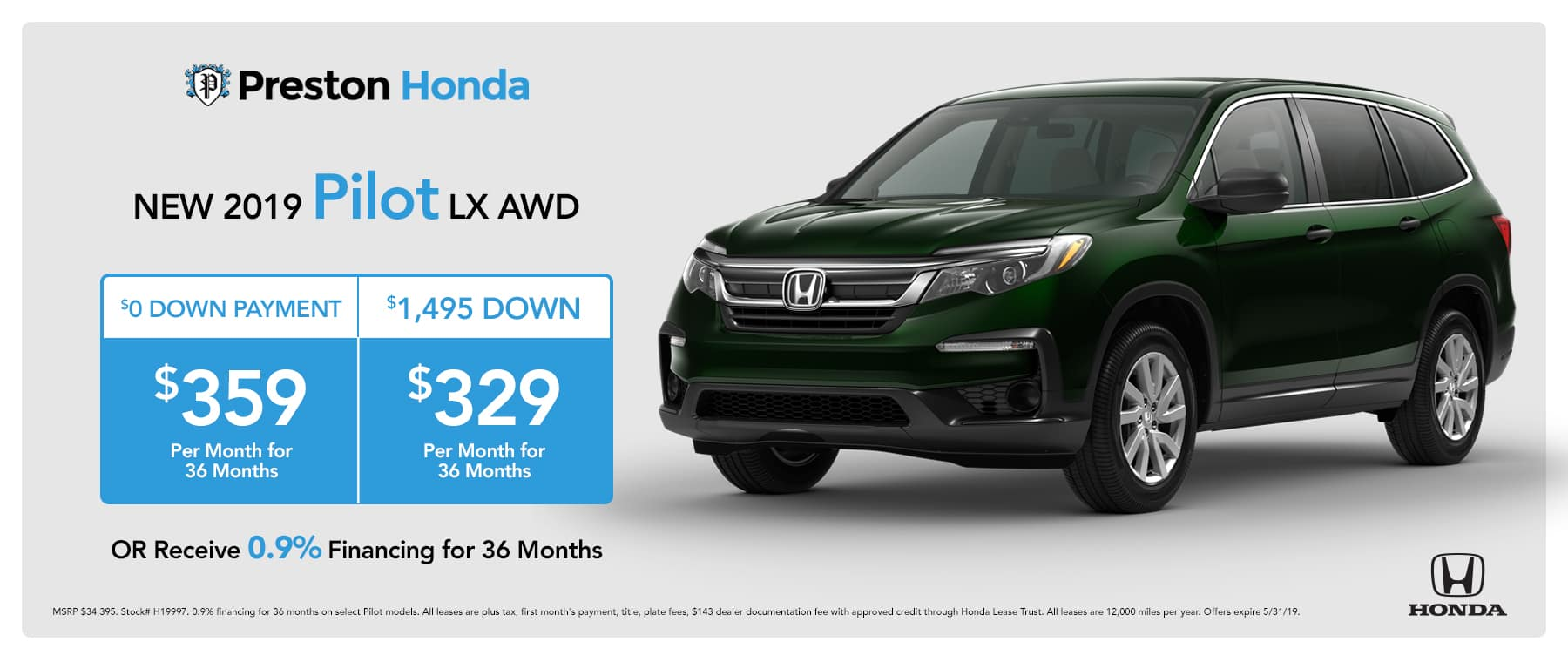 May special on the 2019 Honda Pilot