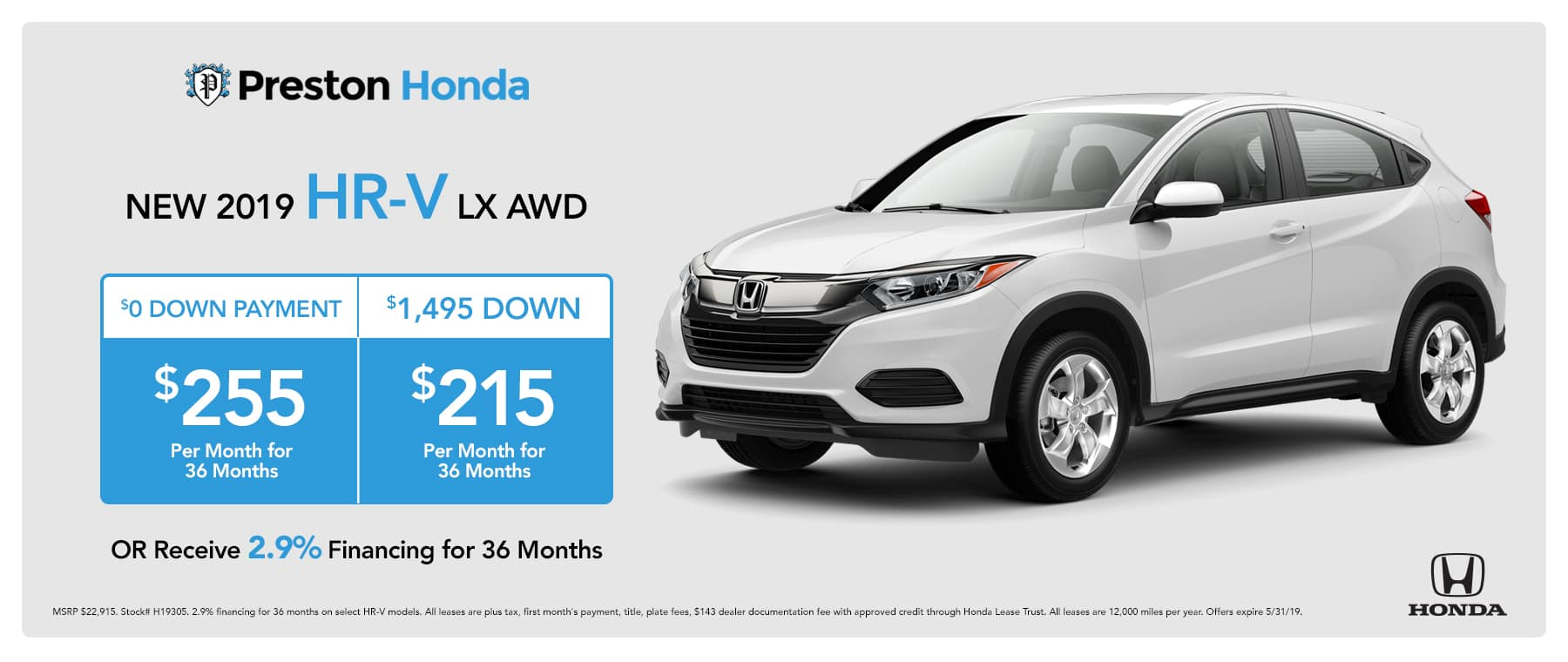 May special on the 2019 Honda HR-V