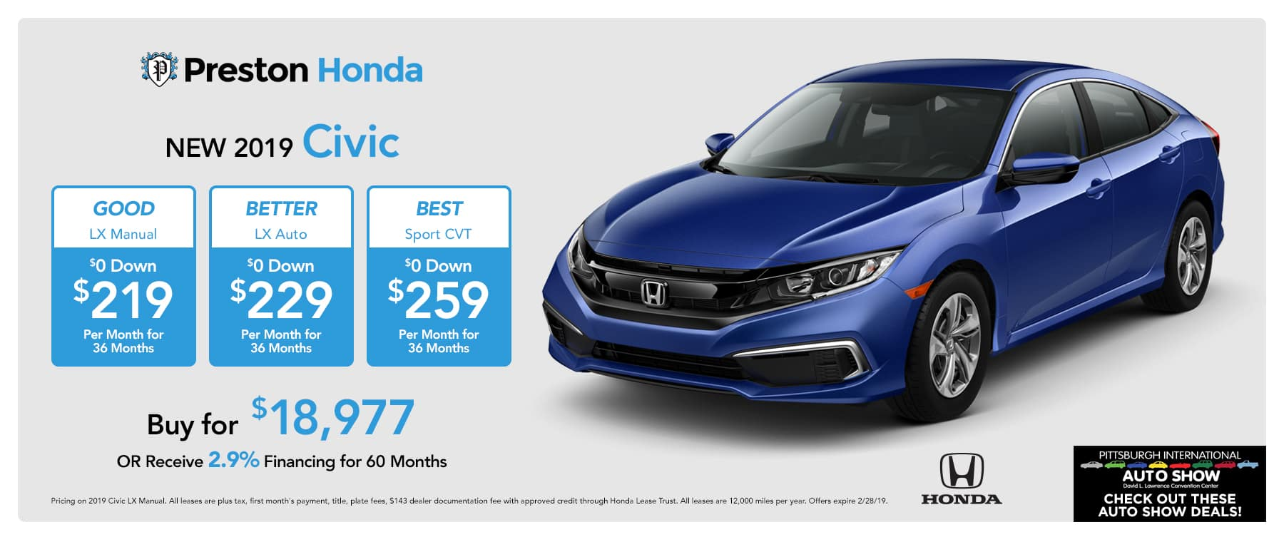 February Offers on the 2019 Honda Civic
