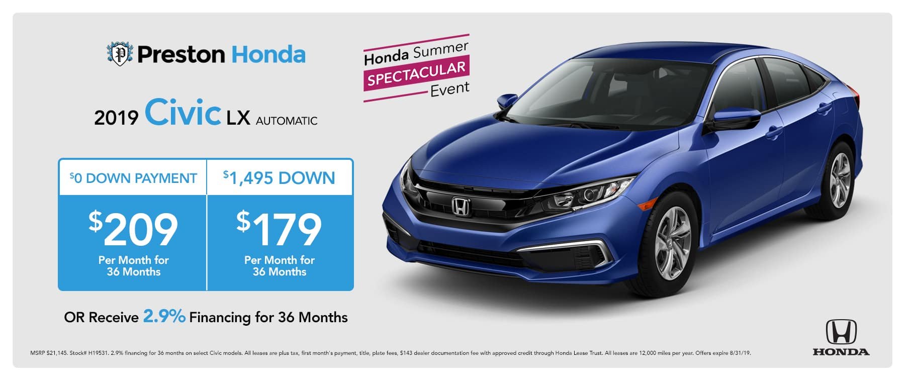 August special on the 2019 Civic