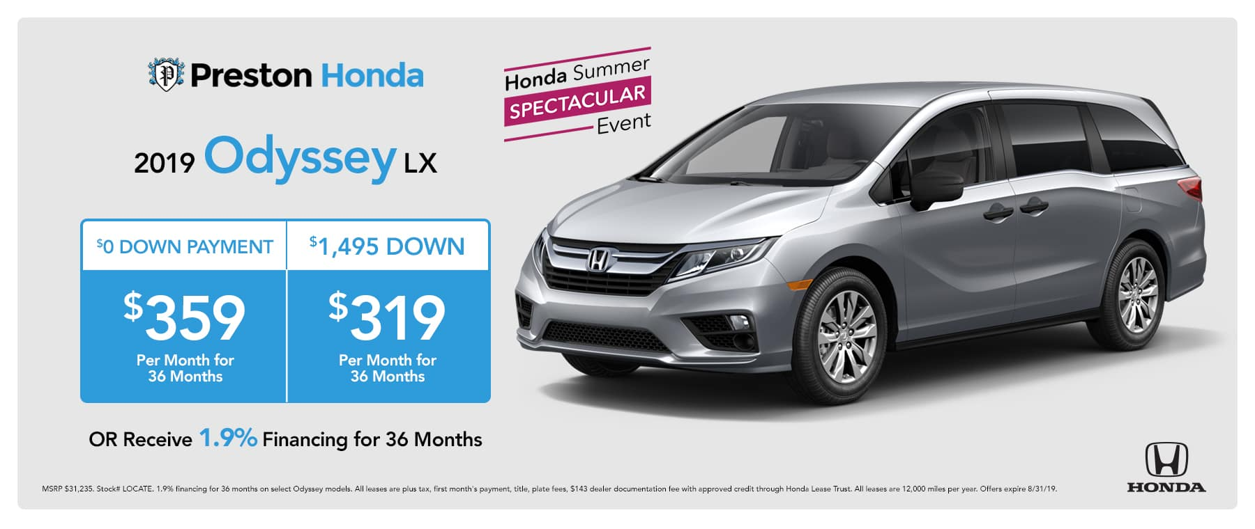 August special on the 2019 Odyssey