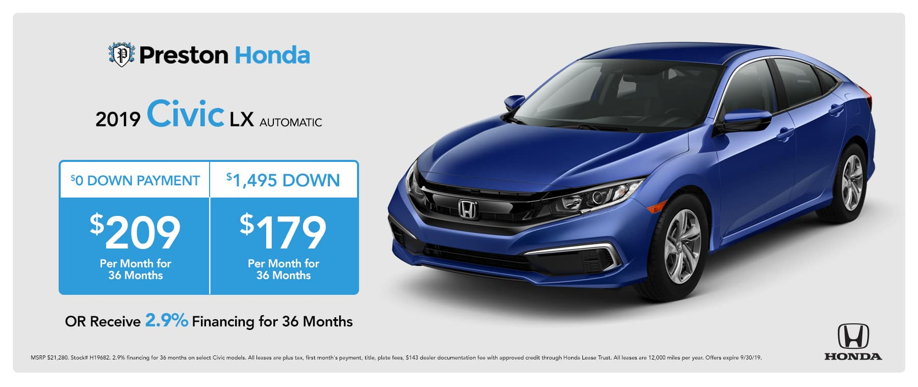 September special on the 2019 Honda Civic