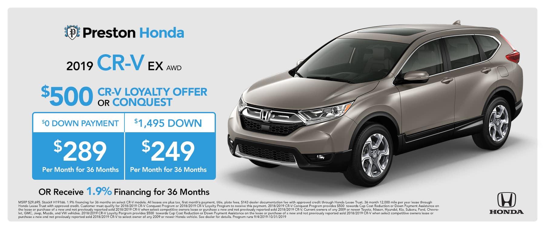 September special on the 2019 Honda CR-V