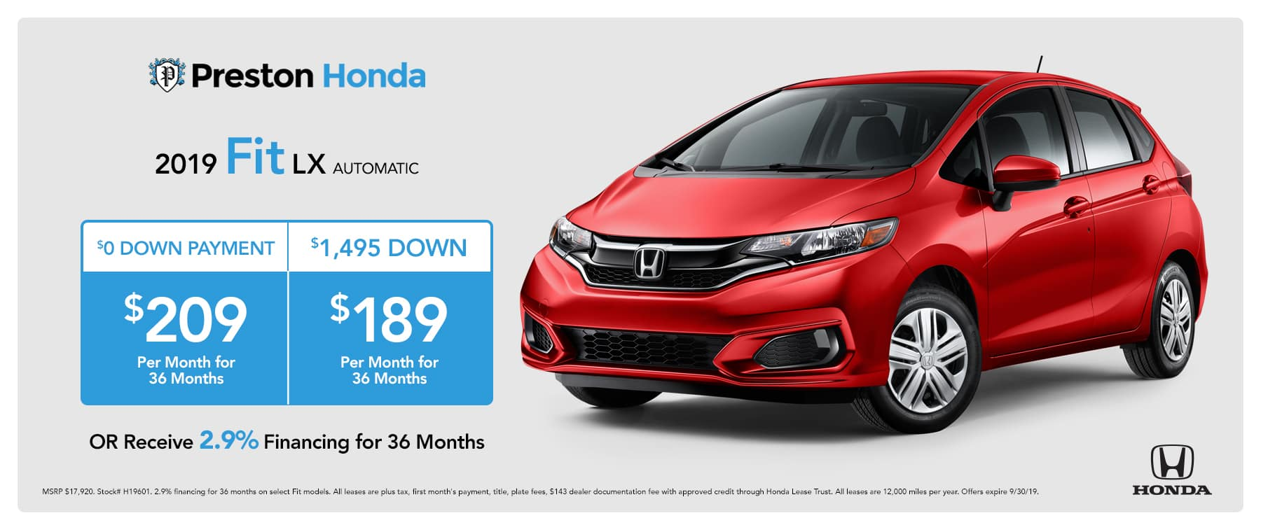September special on the 2019 Honda Fit