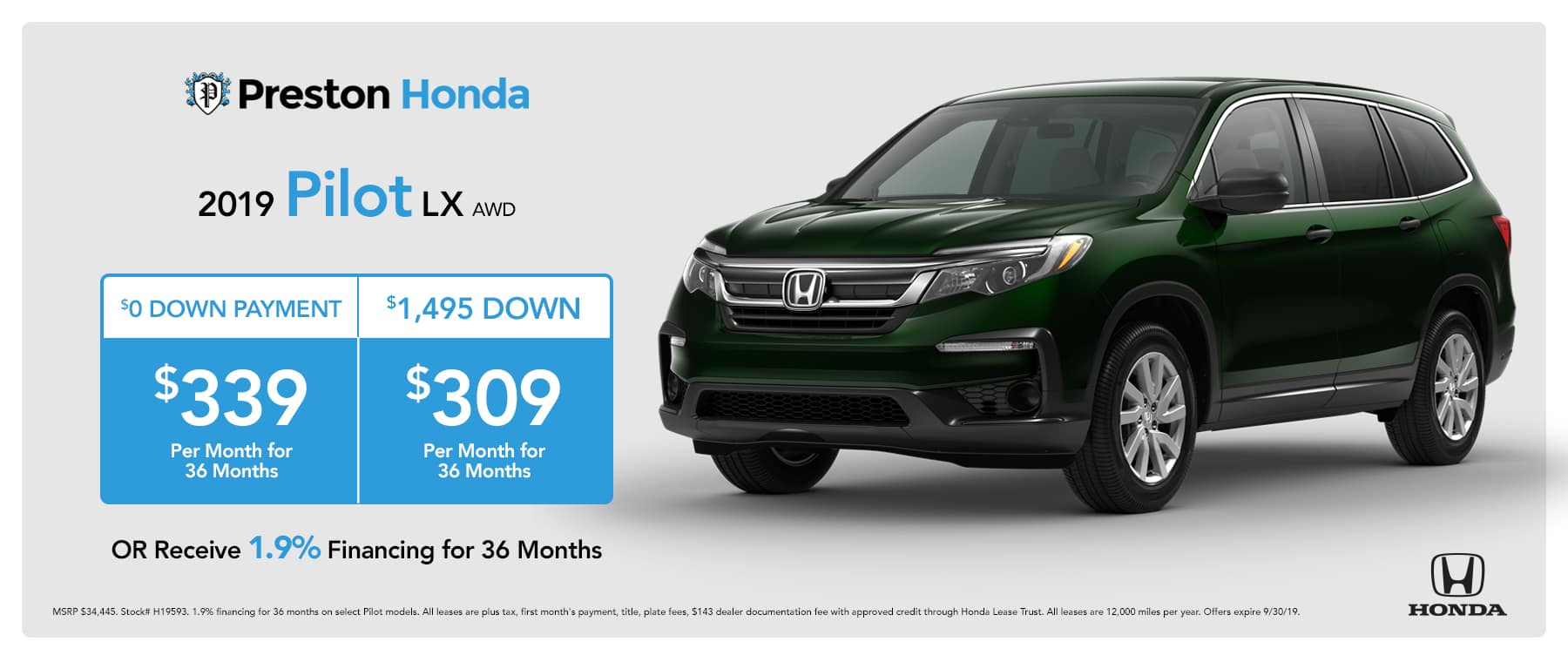 September special on the 2019 Honda Pilot