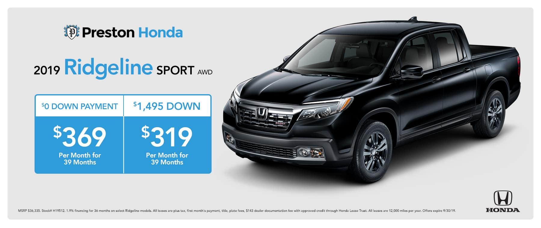 September special on the 2019 Honda Ridgeline