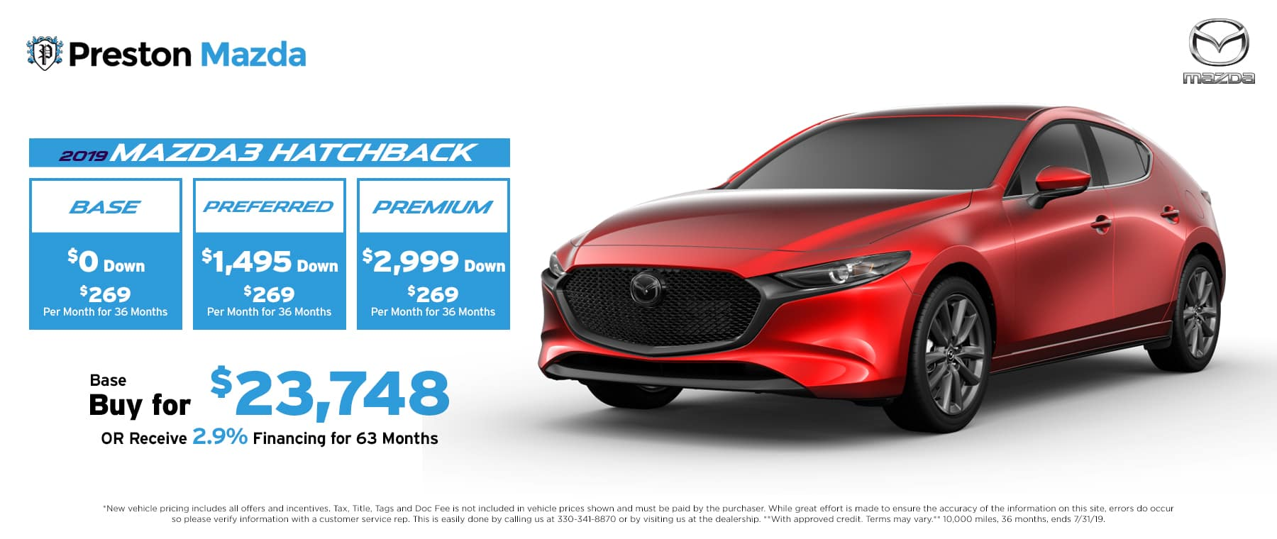 July special on the 2019 Mazda3