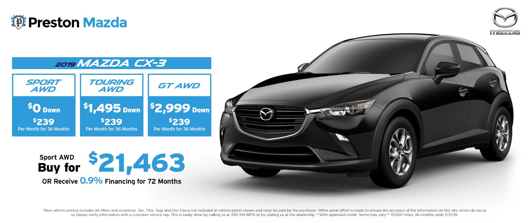July special on the 2019 Mazda CX-3