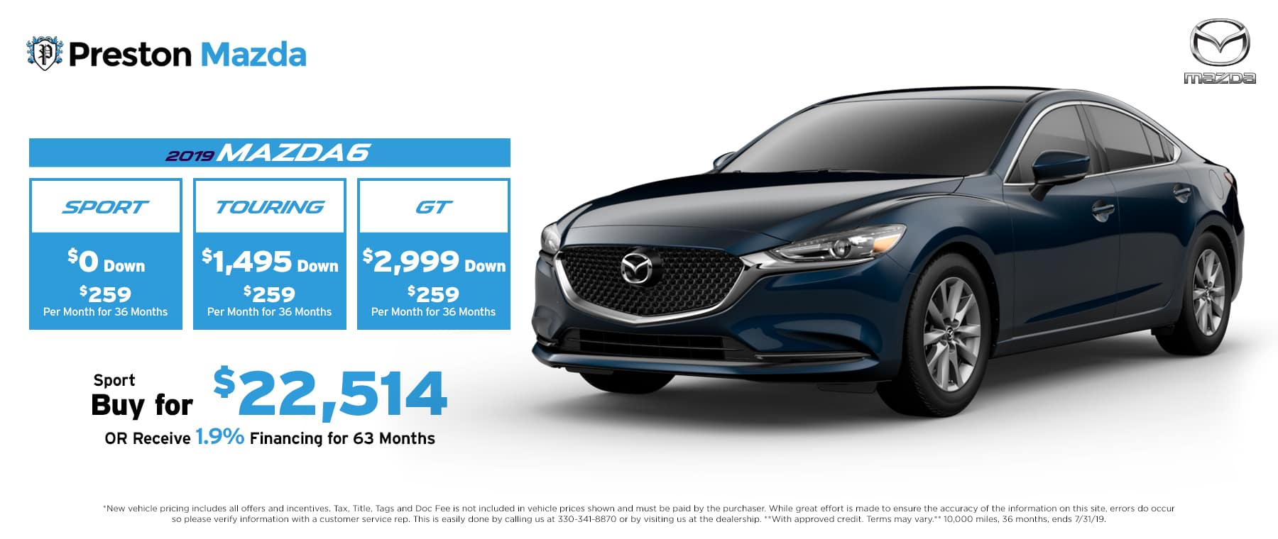 July special on the 2019 Mazda6
