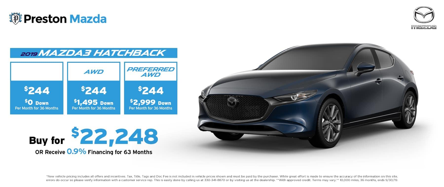 September special on the 2019 Mazda3 Hatchback