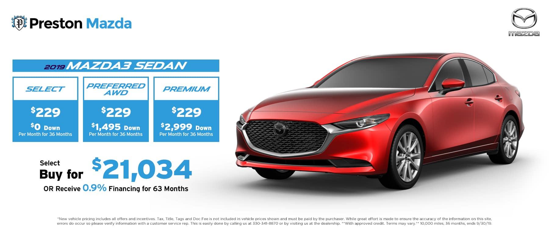 September special on the 2019 Mazda3