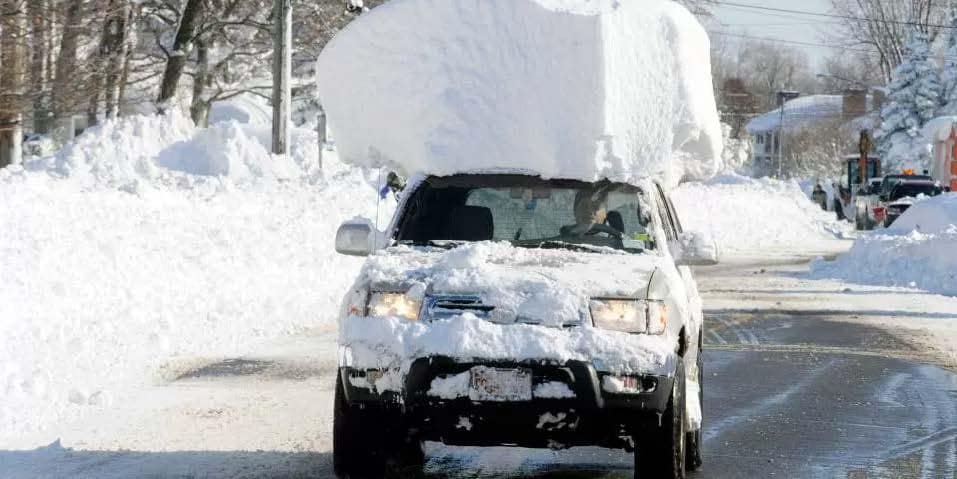 snow on vehicle