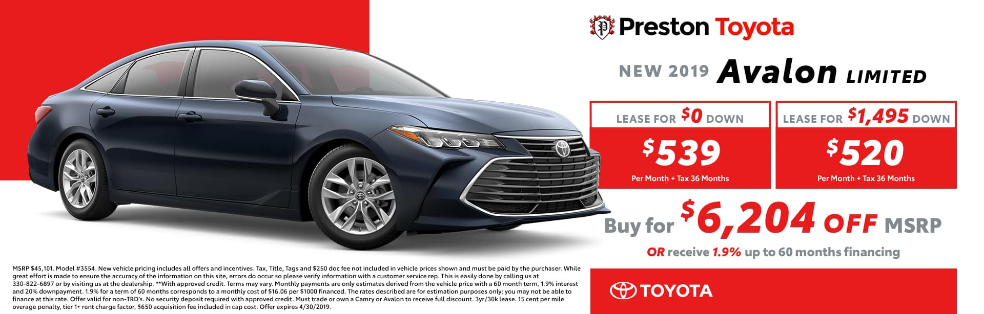 April Special on the 2019 Toyota Avalon