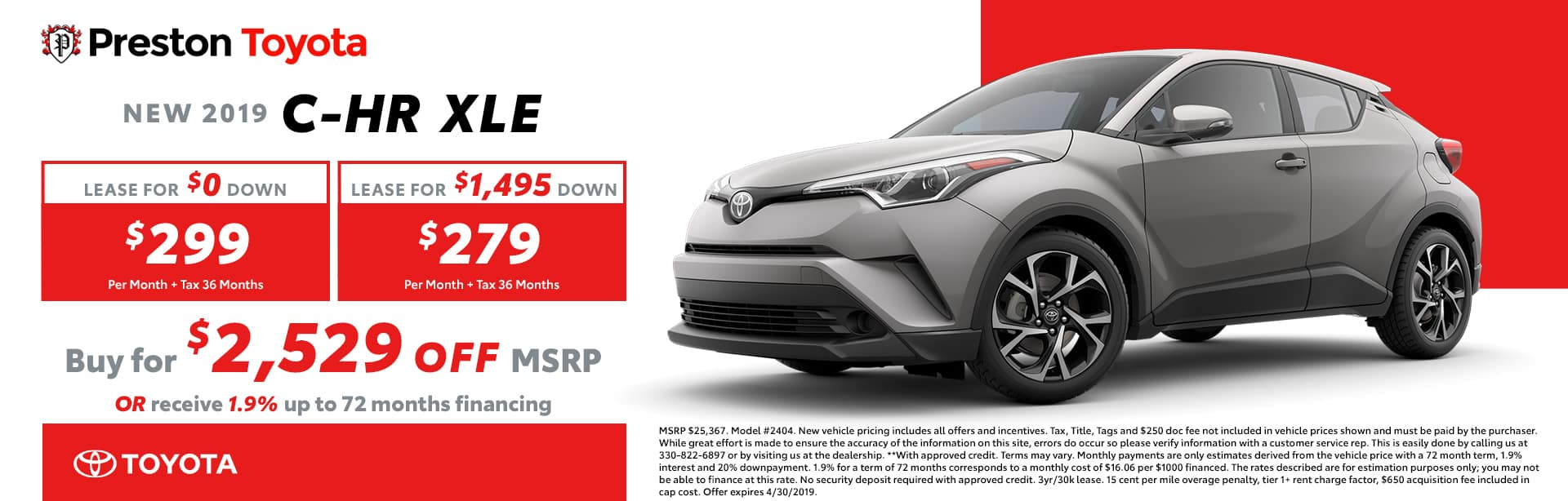 April Special on the 2019 Toyota C-HR