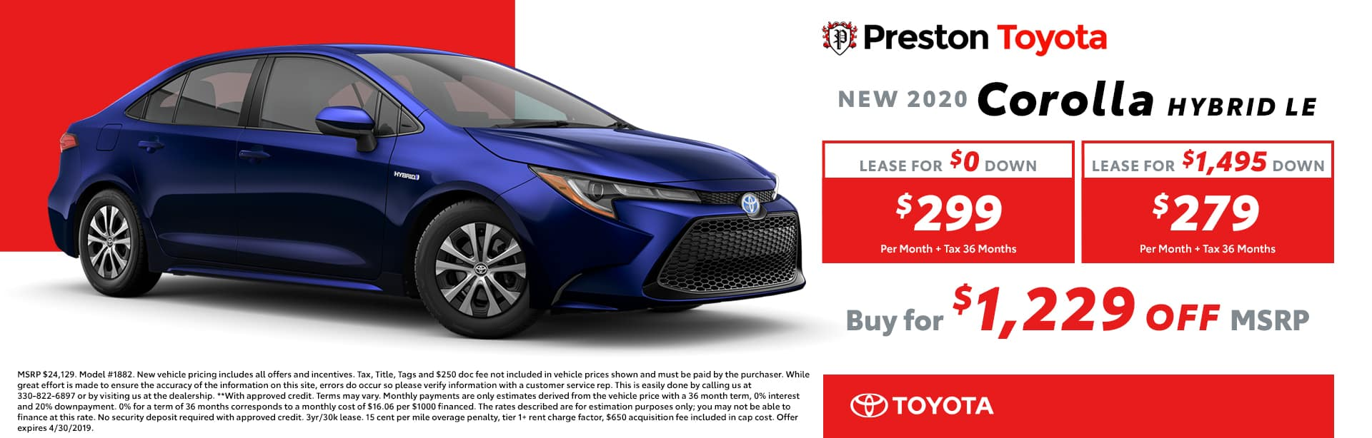 April Special on the 2019 Toyota Corolla