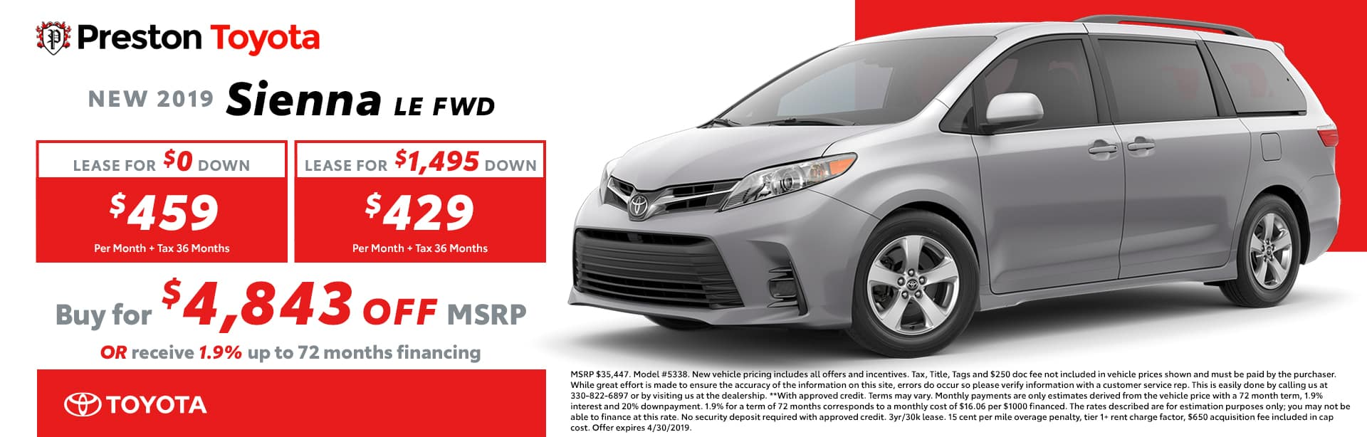 April Special on the 2019 Toyota Sienna