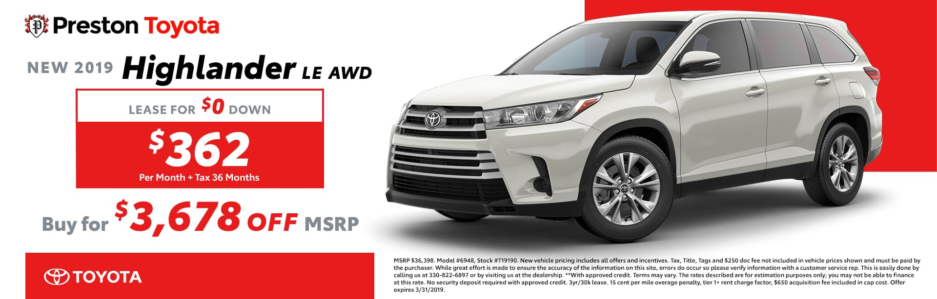 March Special on the 2019 Toyota Highlander