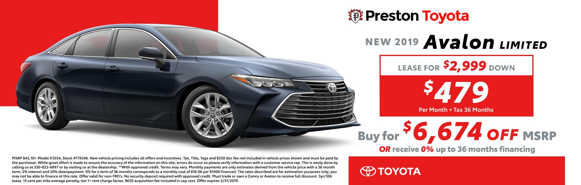 March Special on the 2019 Toyota Avalon