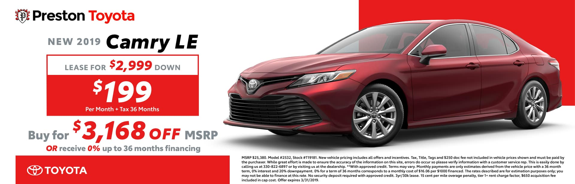 March Special on the 2019 Toyota Camry