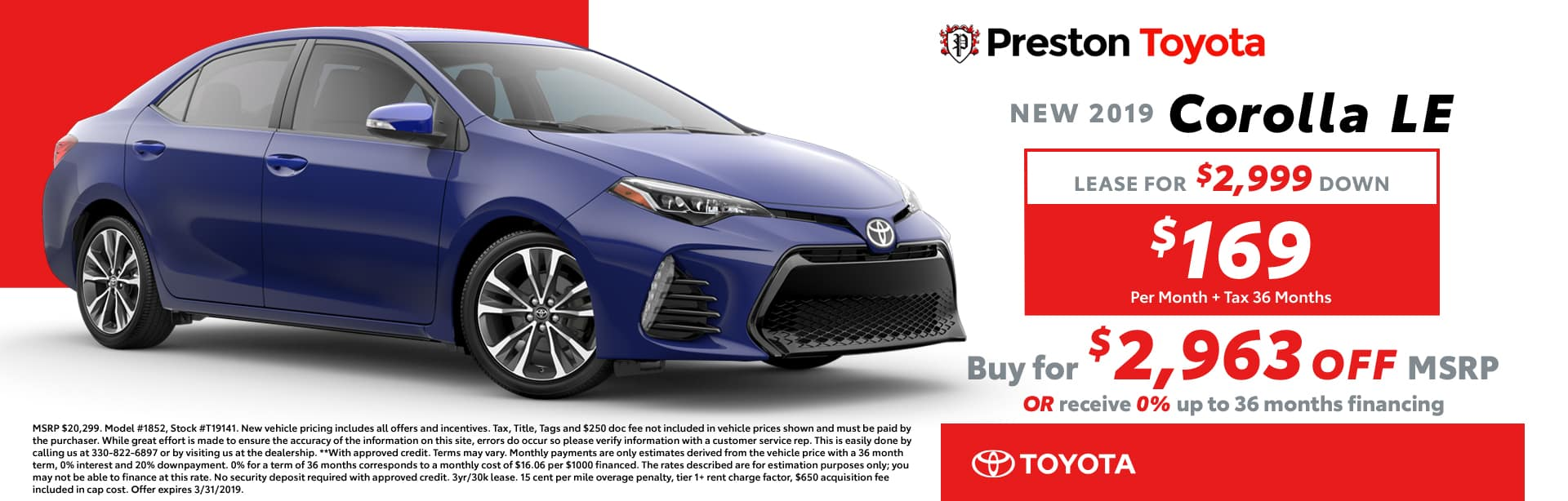March Special on the 2019 Toyota Corolla
