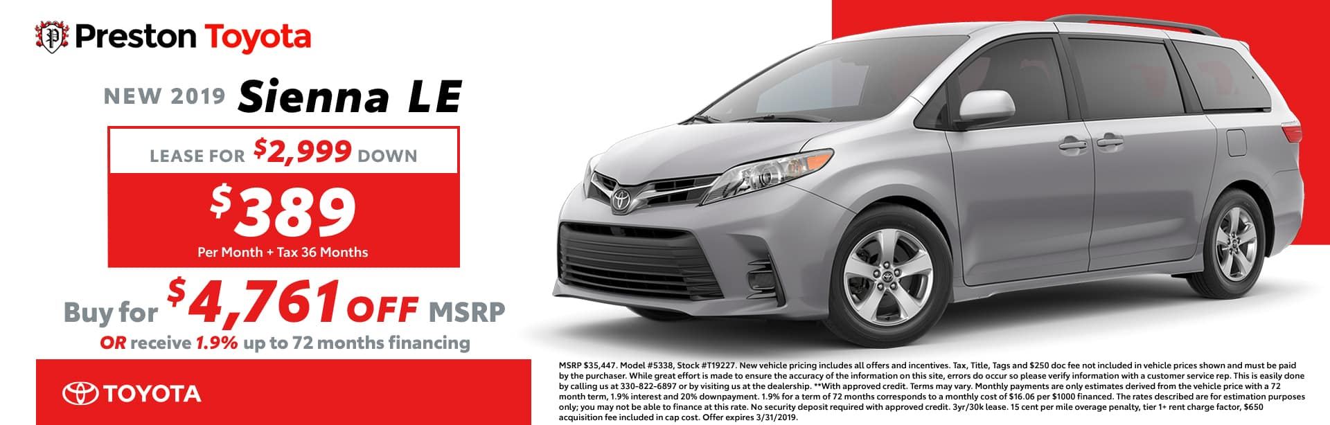 March Special on the 2019 Toyota Sienna