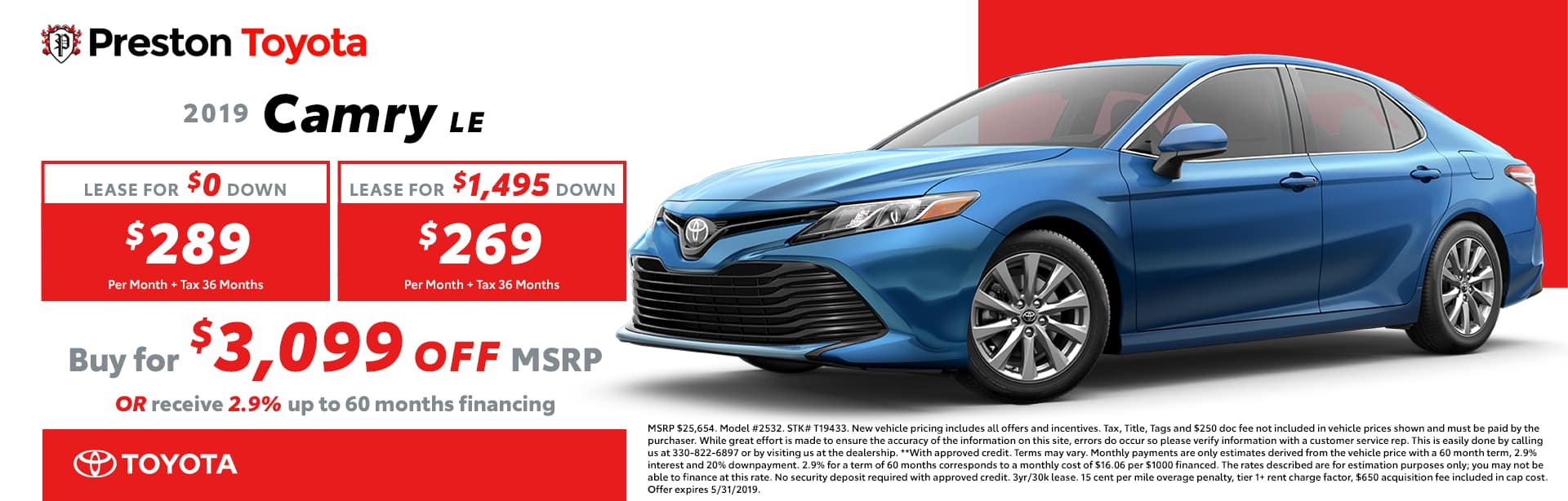 May special on the 2019 Toyota Camry