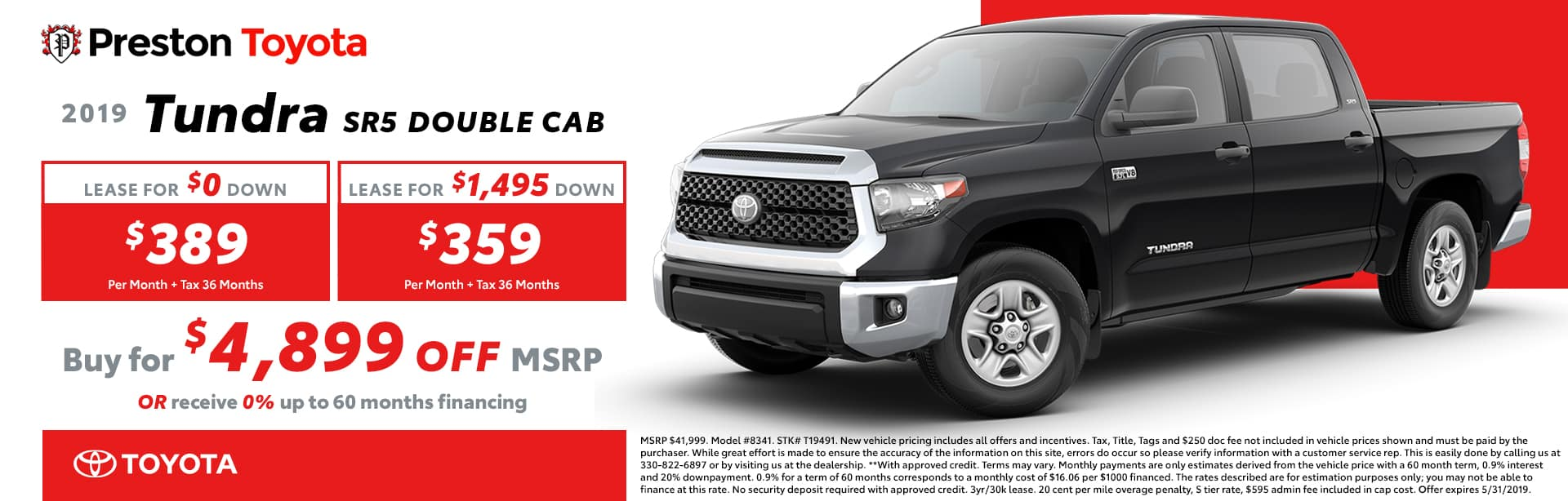 May Special on the 2019 Toyota Tundra