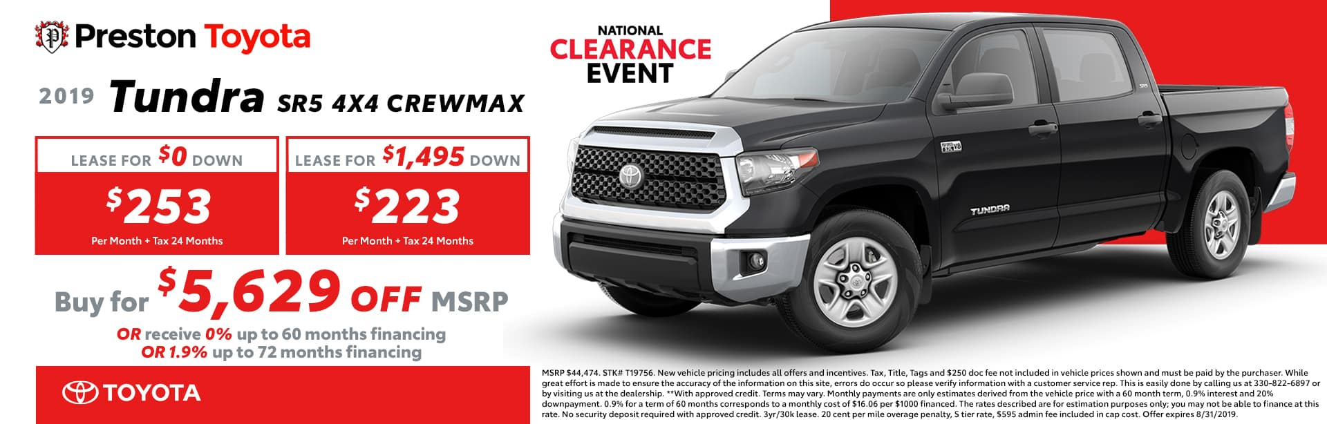 August special on the 2019 Toyota Tundra