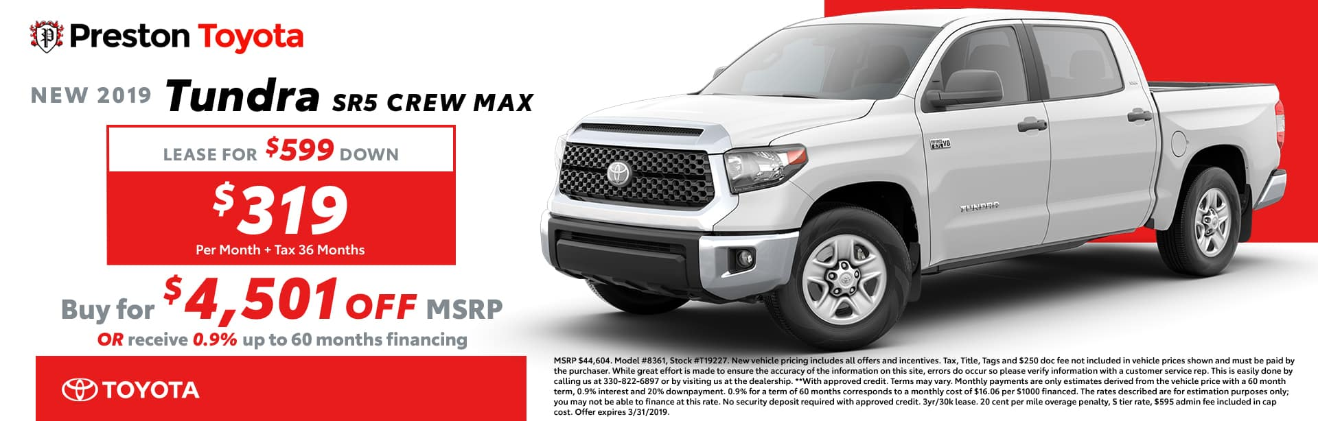 March Special on the 2019 Toyota Tundra