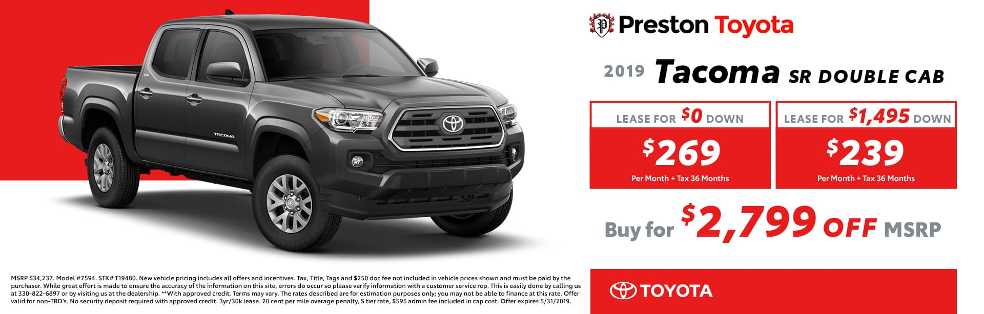 May special on the 2019 Toyota Tacoma