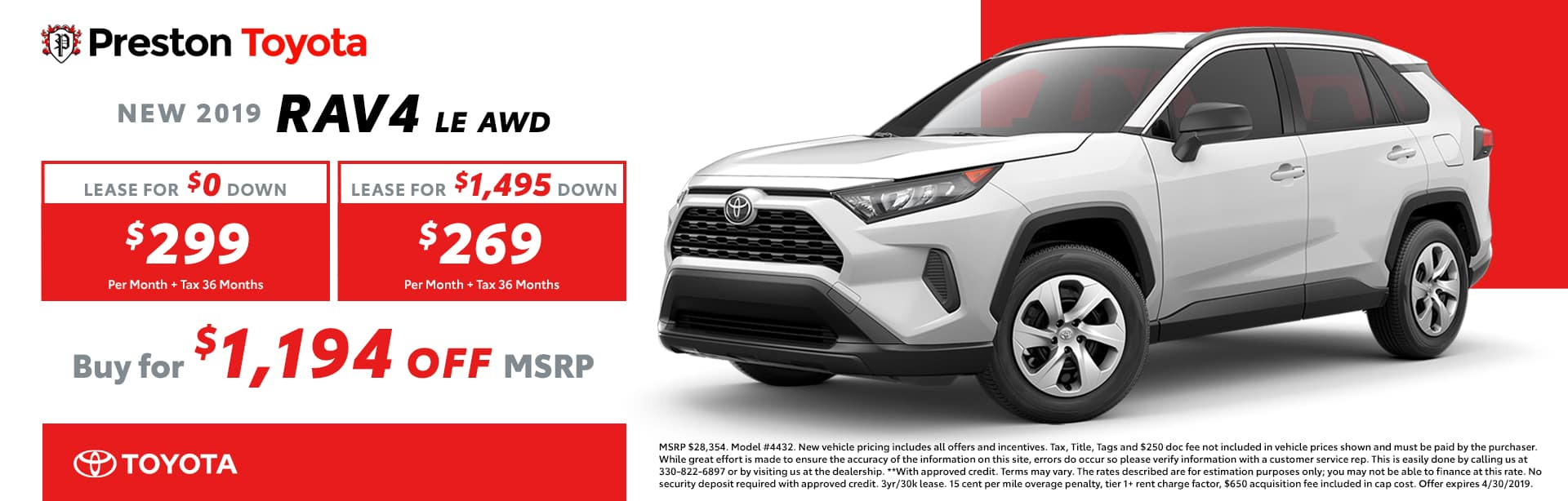 April Special on the 2019 Toyota RAV4