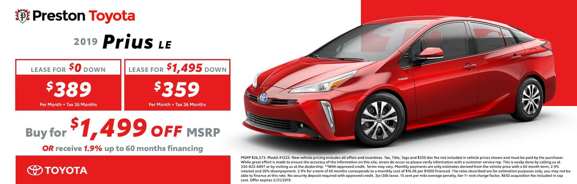 May special on the 2019 Toyota Prius