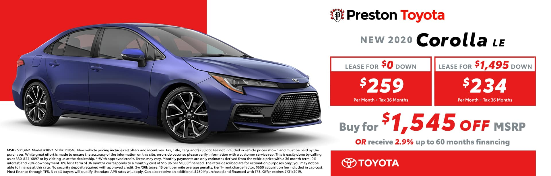 July special on the 2019 Toyota Corolla