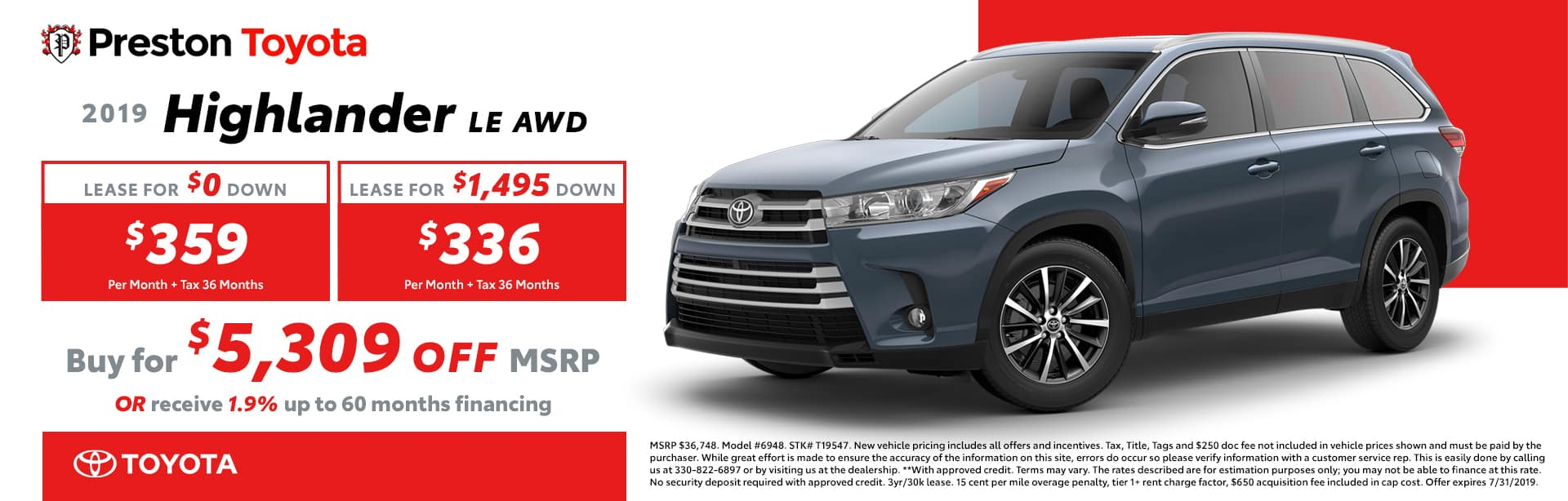 July special on the 2019 Toyota Highlander