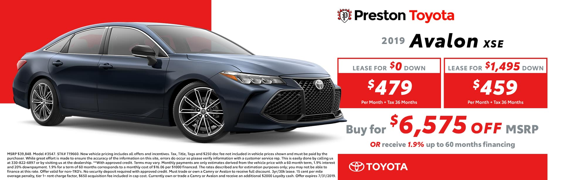 July special on the 2019 Toyota Avalon