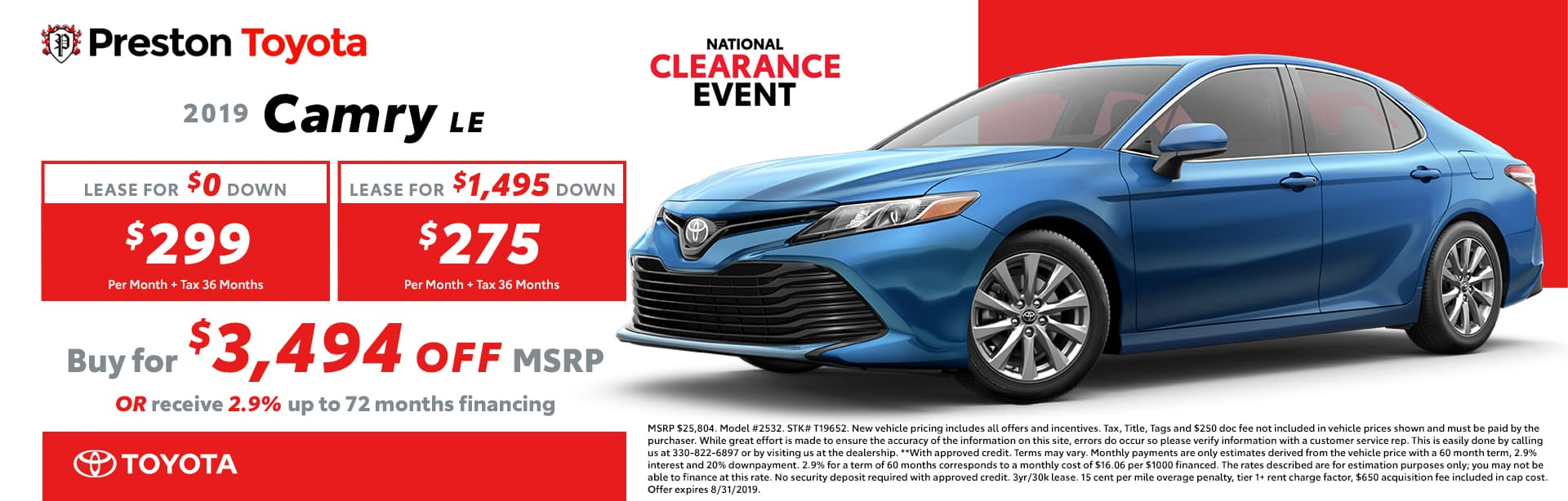 August special on the 2019 Camry