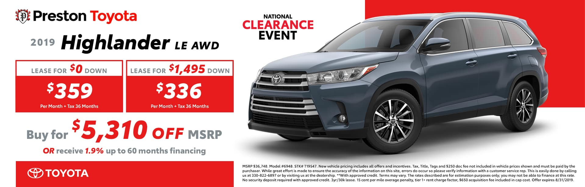 August special on the 2019 Toyota Highlander