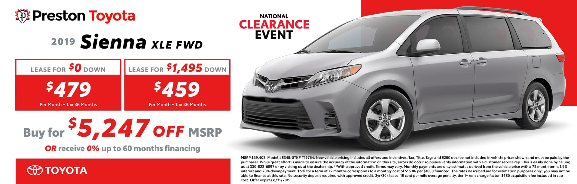 August special on the 2019 Sienna
