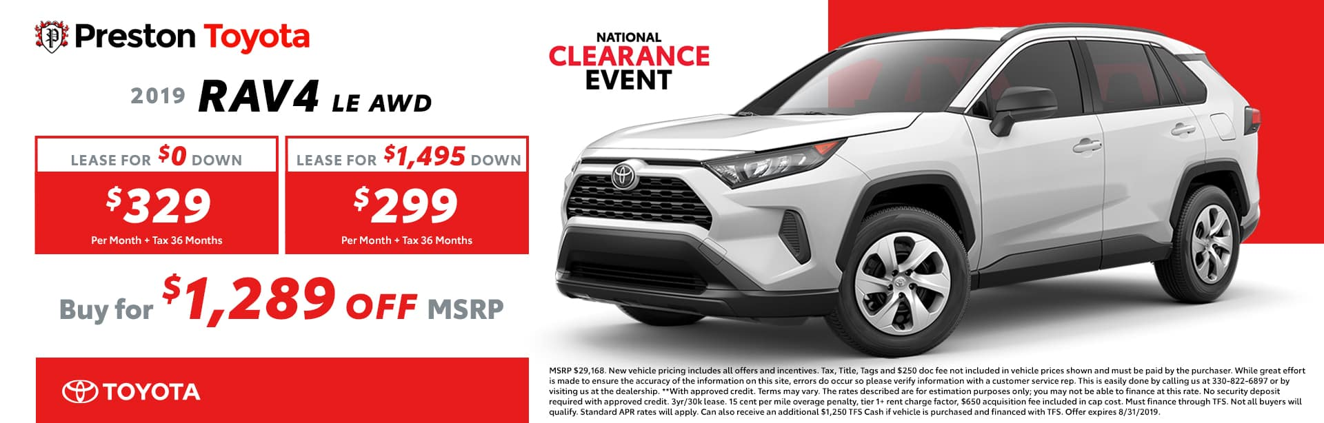 August special on the 2019 RAV4