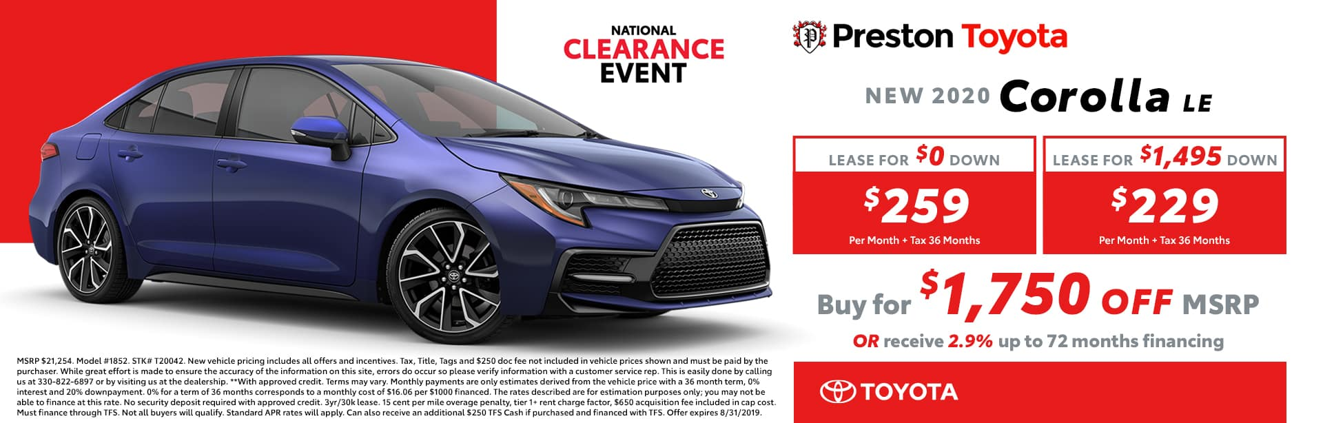 August special on the 2019 Corolla