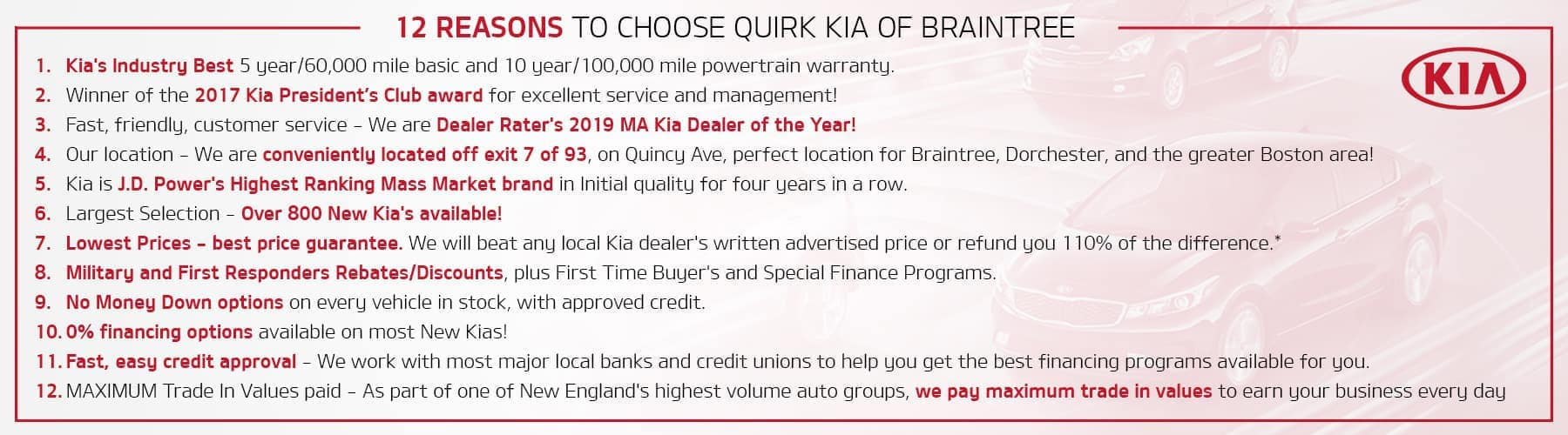 12 Reasons to Choose Quirk Kia!