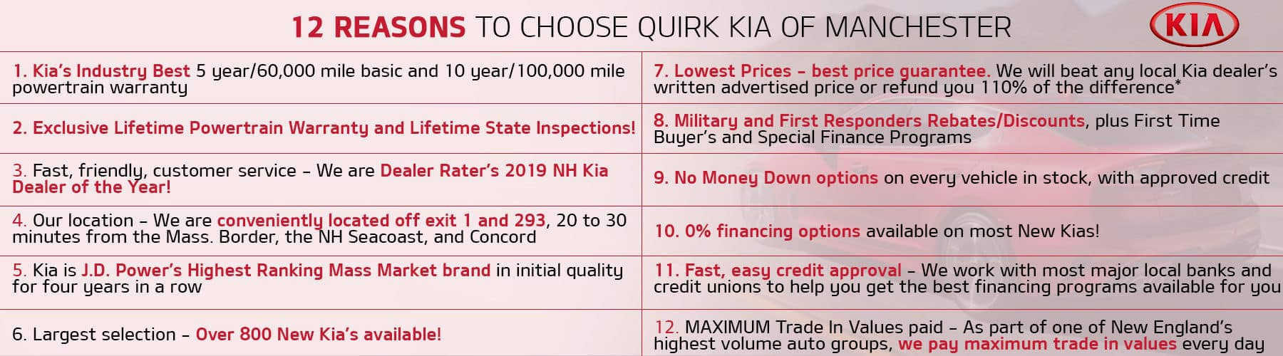 12 Reasons to Choose Quirk Kia!