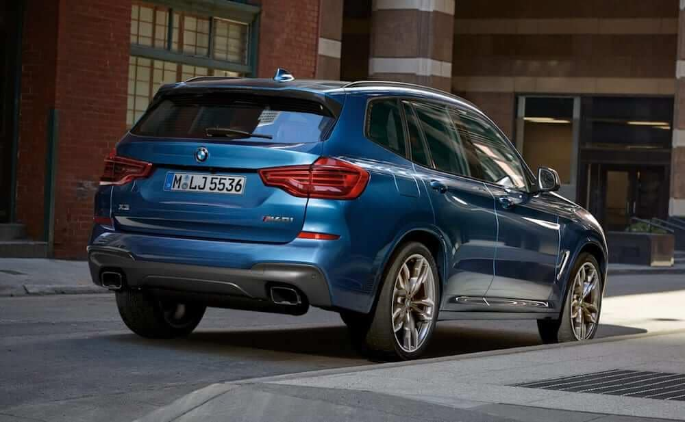 2019 BMW x3 blue suv rearview